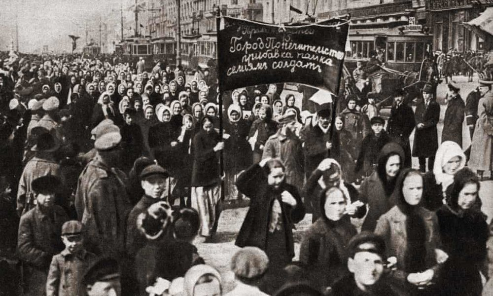 Female protesters in Petrograd (now St Petersburg) on 8 March 1917. Photograph: Fototeca Storica Nazionale/Getty Images