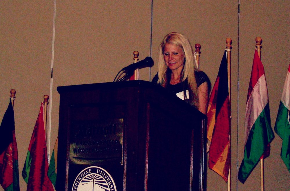 Speaking at my graduation ceremonies from Pepperdine