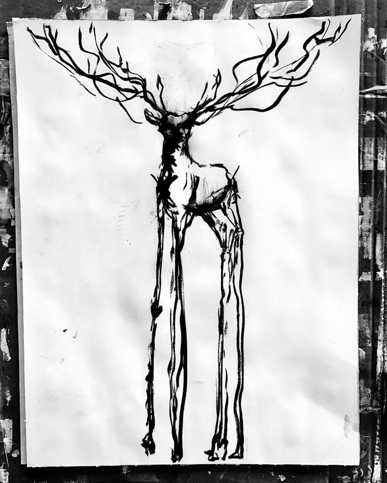 Study for a sculpture of a Stag with very thin & long legs