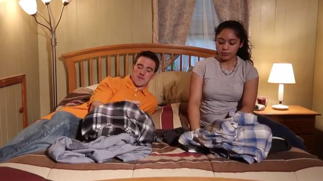 Nothing says BFF bonding like folding flannels. Credit: YouTube