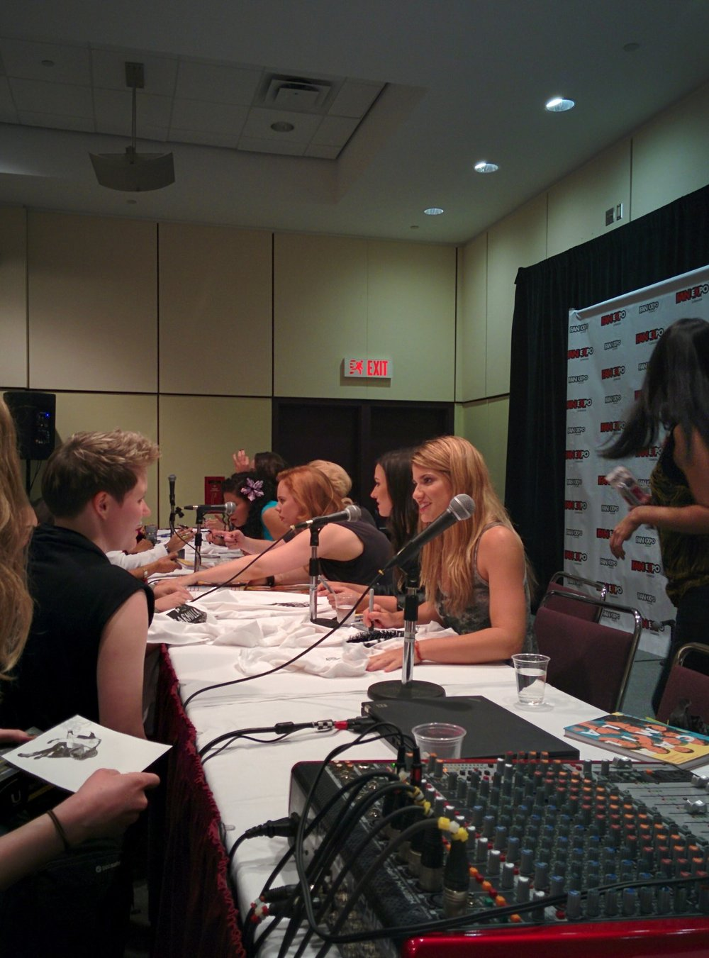 The cast of Carmilla interacting with fans during the signing portion of the panel. Credit: Aria Bauer