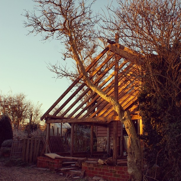 The beginnings of Dan's blacksmithing forge in the early evening light. Lots of plans afoot for this space.
