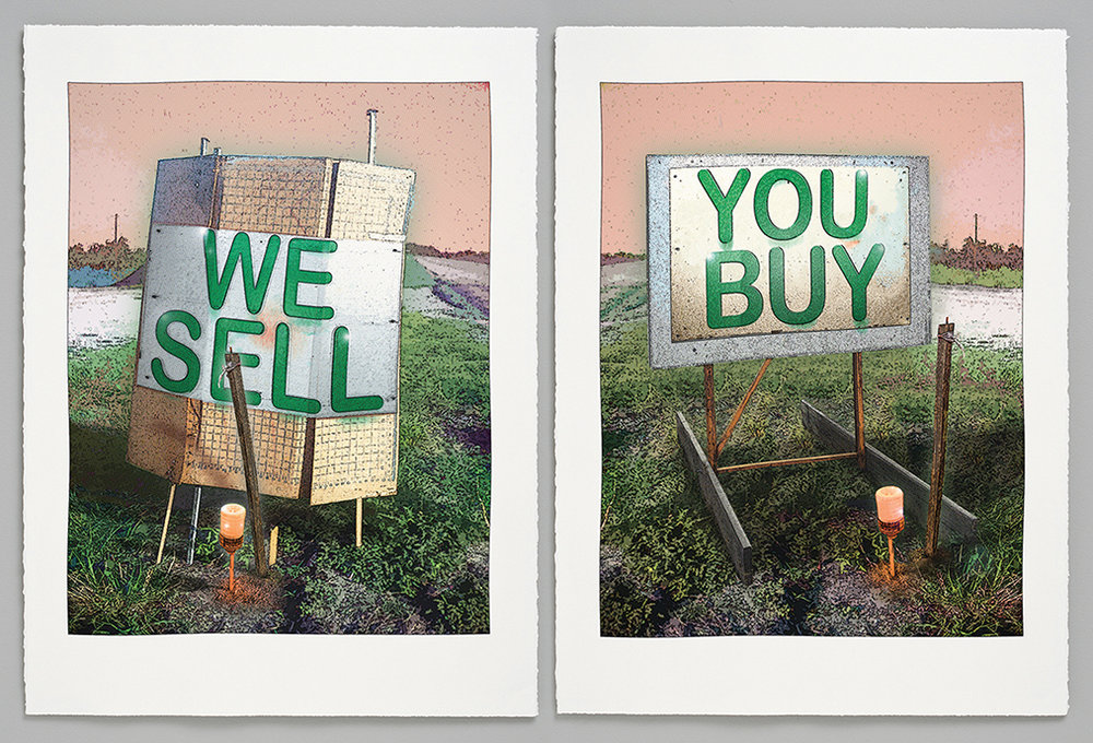 "Image info; Randy Bolton, 2013, We Sell + You Buy, 2-panel screen print on Rives BFK, 30"" x 22"" (each panel)."