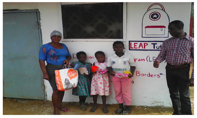 Gift Programme for new beneficiaries at the LEAP Sub office in Paynesville, Liberia. With Monica, Project Coordinator (Liberia), March 17, 2017.