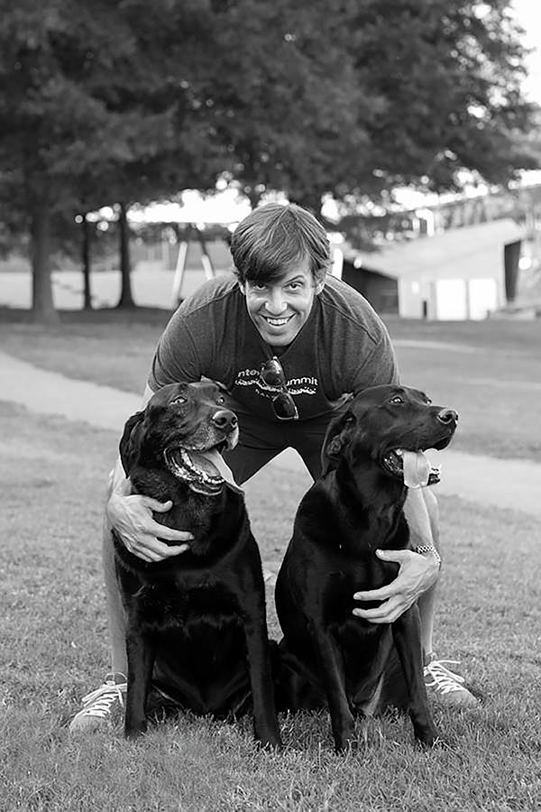 WES JOHNSON WITH HIS TWO PUPS