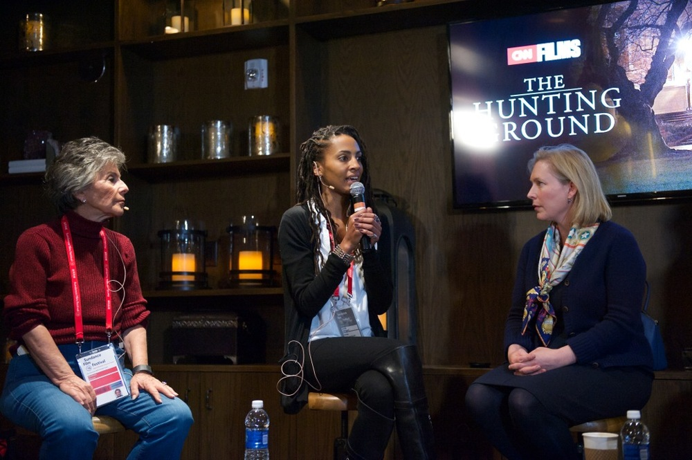 Senator Barbara Boxer, Kamilah Willingham, and Senator Kirsten Gillibrand discuss campus sexual assault on a panel for CNN at the 2015 Sundance Film Festival