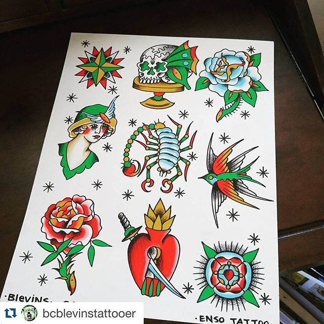 #Repost @bcblevinstattooer with @repostapp. ・・・ Finally got a chance to sit down and paint something from start to finish. Keep your eyes peeled, ill be offering these on a sweet deal for the @enso_tattoo grand opening.