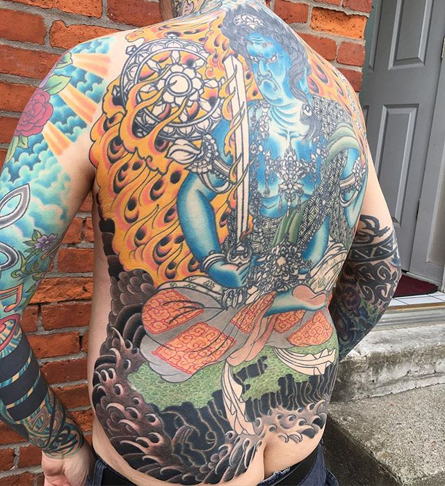 Getting closer on @artbyrusty!! by ensō artist @kevinstress #fudomyoo #backpiece #kevinstress #応力#kevinstresstattoo #japanesetattoos #japanesetattoo #irezumi #columbusirezumi #enso #ensotattoo #ensoartscollective #columbustattoos #columbusart #asseenincolumbus #truetubes #blackclawneedle #oldgoldsmallbatch #columbus #cbus #shortnorth #ohio #614 #tattoo