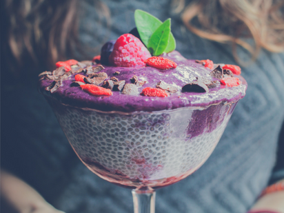 Chia pudding - a source of soluble fibre (photo by  Sebastián LP )