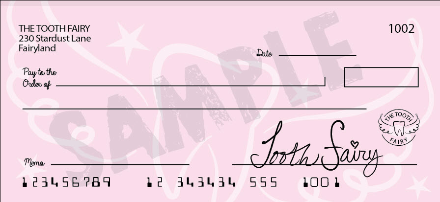 Tooth Fairy blank bank check printable