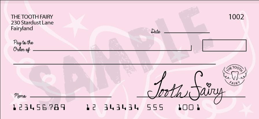 Tooth Fairy blank bank check printable