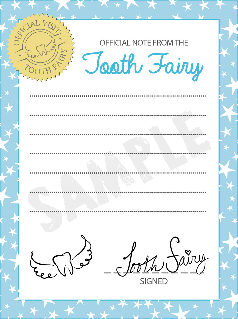 Tooth Fairy blank letter printable