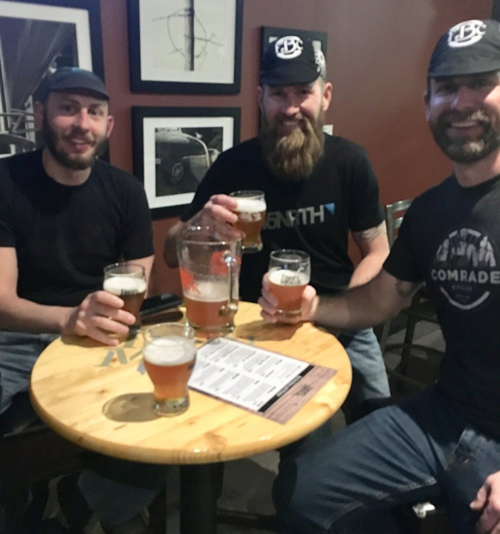 Celebrating our arrival in Stillwater at the Iron Monk Brewery - Jake, Justin, and Stu