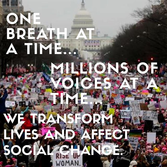 We at One-Breath.org were proud to stand up with the world in support of the rights of all people and our environment. One Breath at a time, we all create change through our actions on and off the mat. #takeyogaoffthemat #socialchange #whyimarch #womensmarch #yoga