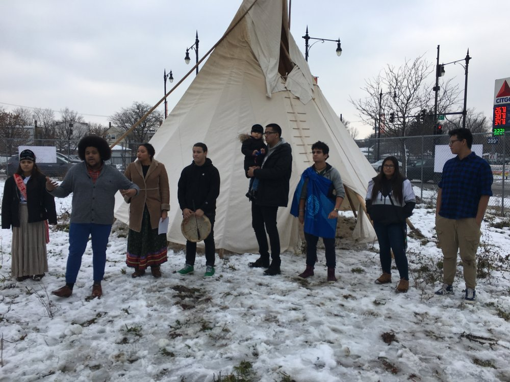 Youth From Chi-Nations Youth Council, American Indian Center- Chicago, Aloha Center Chicago and 35th Ward open the First Nations Community Garden Space.
