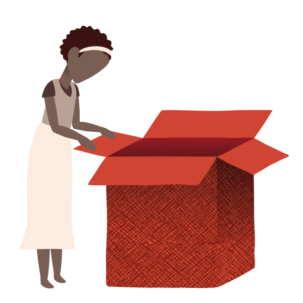 Illustration of a woman opening an empty box