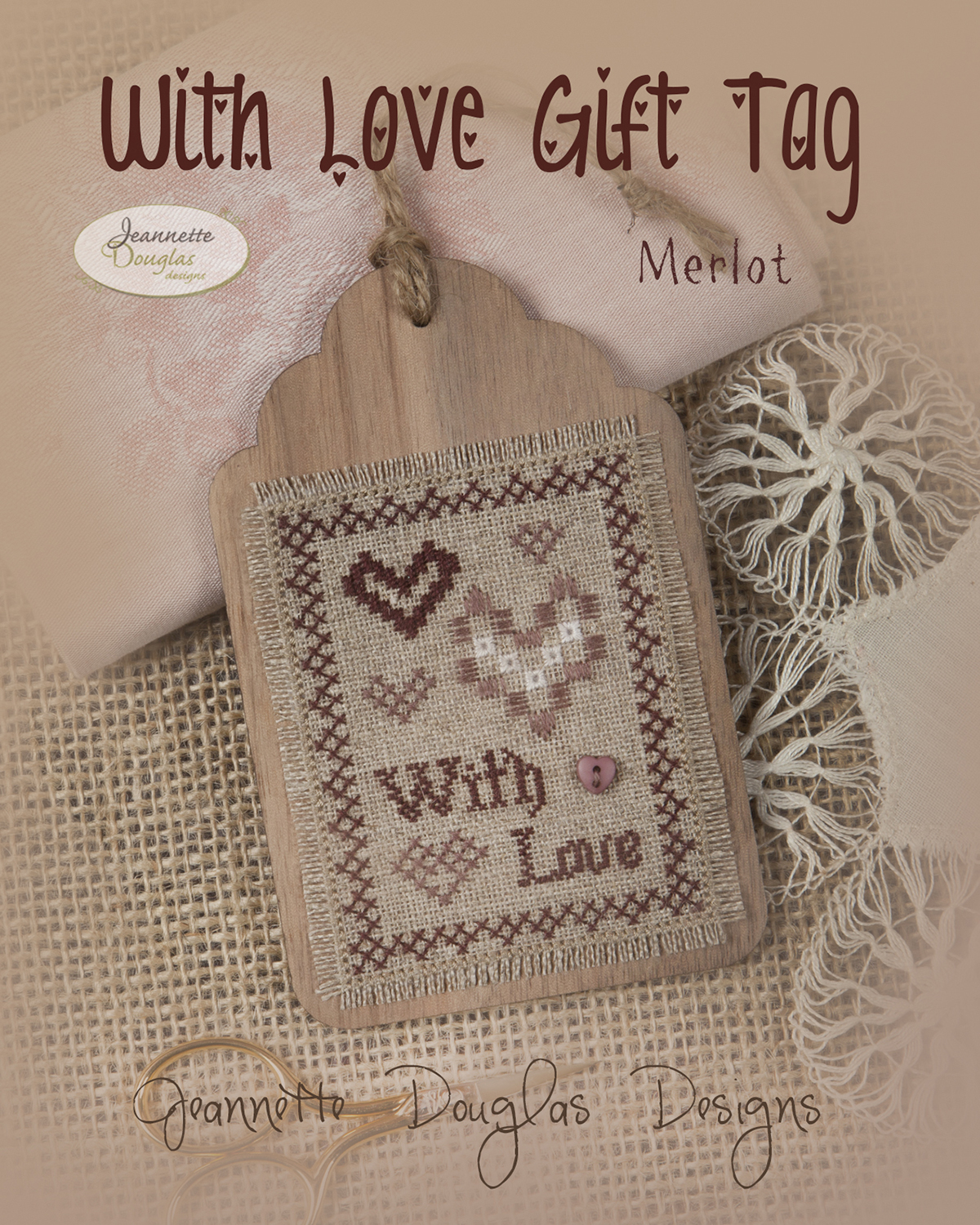 With Love Gift Tag merlot