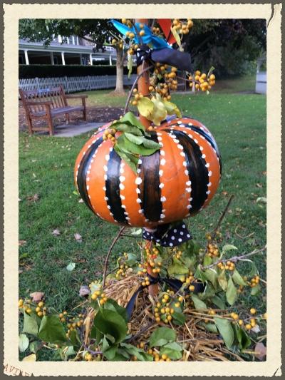 Pumpkin display Up close