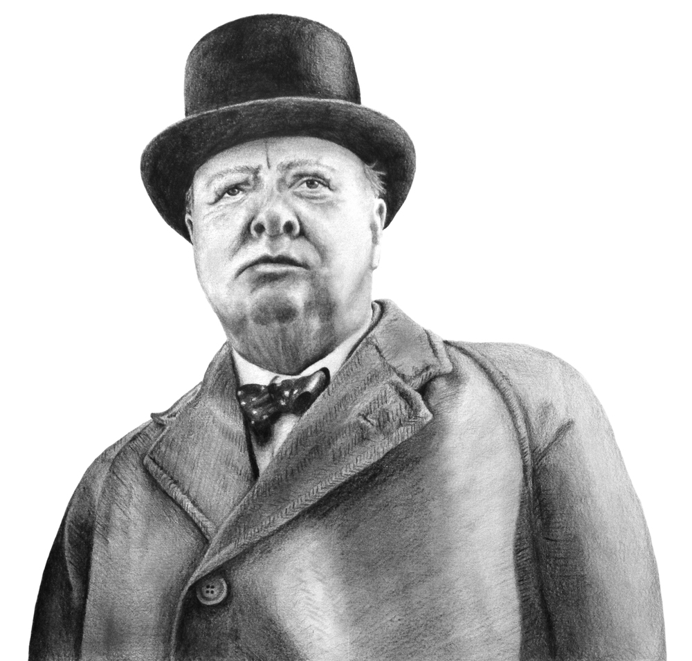 Pencil Illustrations of Winston Churchill