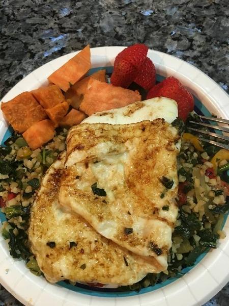 My breakfast: Egg Whites, Sauted Coconut Veggies, Sweet Potatoes, Fruit