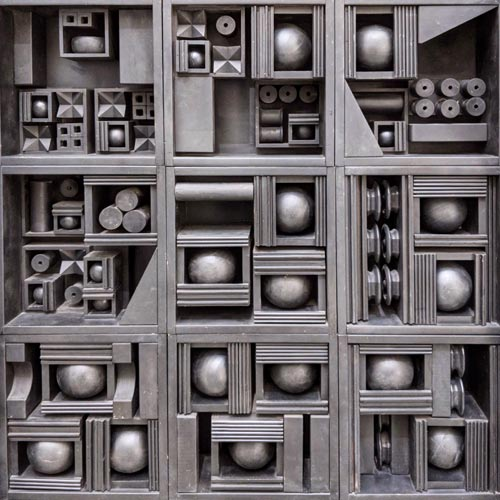 Close up of a  sculpture by Louise Nevelson at the Boijmans Museum  in Rotterdam.