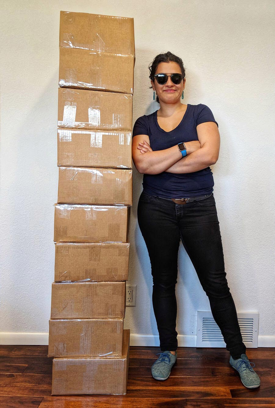 dang, look at that tower of boxes! that's a lotta belts!!