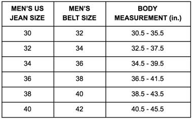 Obscure Belts Men's Sizing Chart