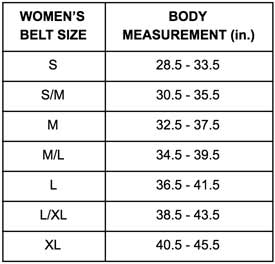 Obscure Belts Women's Sizing Chart