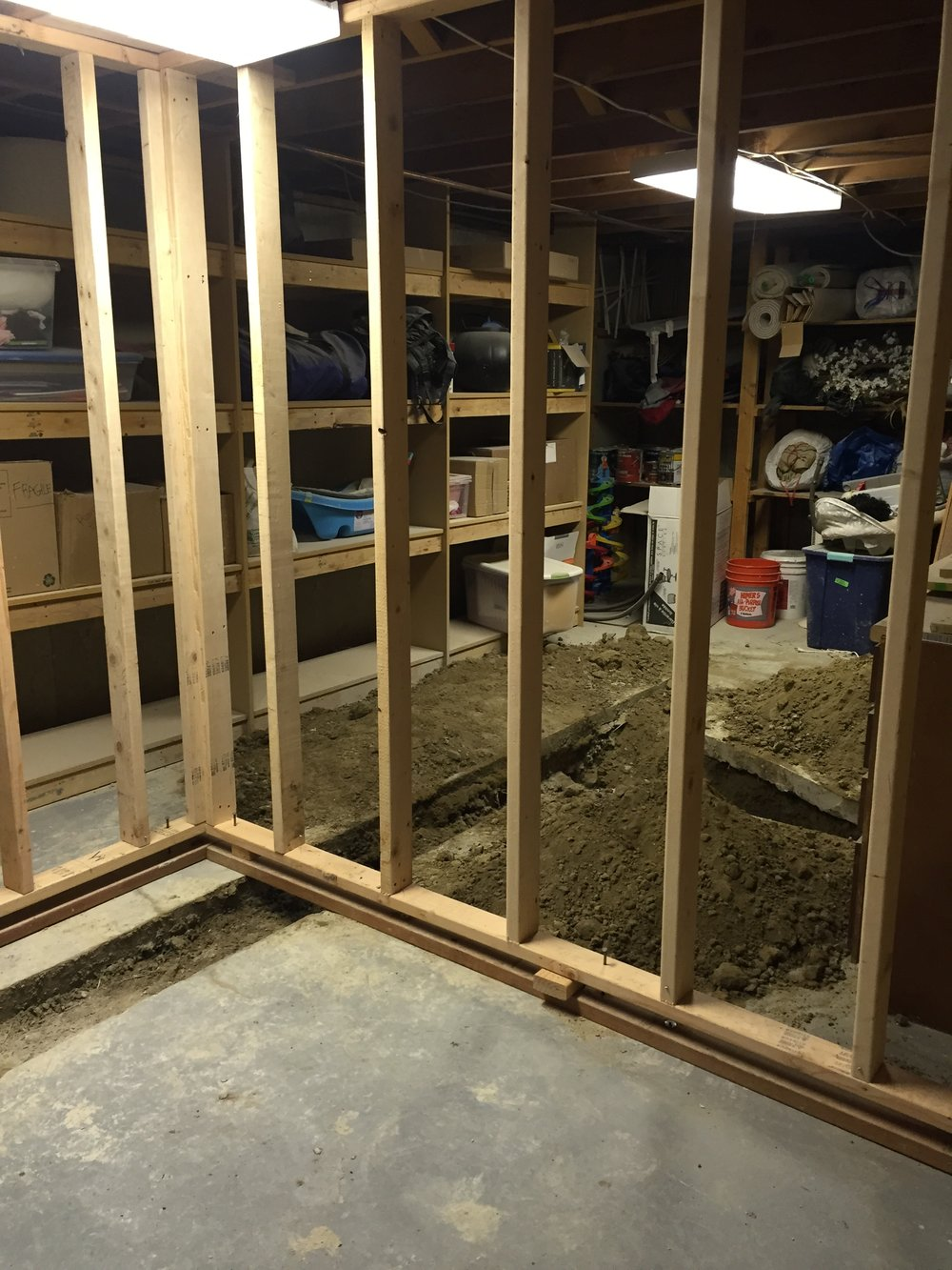 Framing and plumbing for the bathroom in the basement