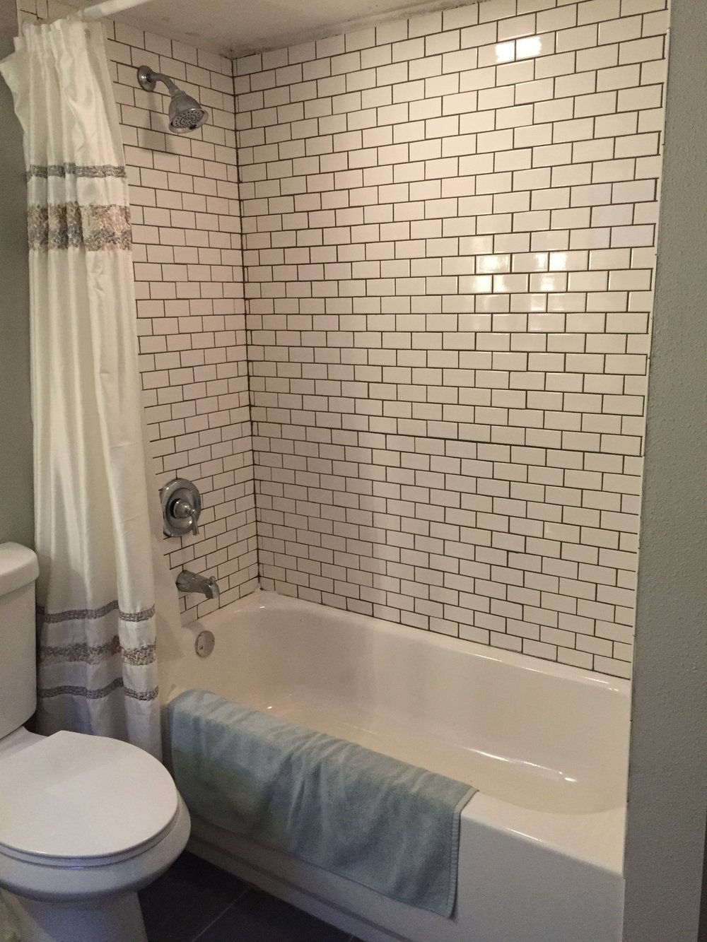 Tiled shower with Home Depot Tiles