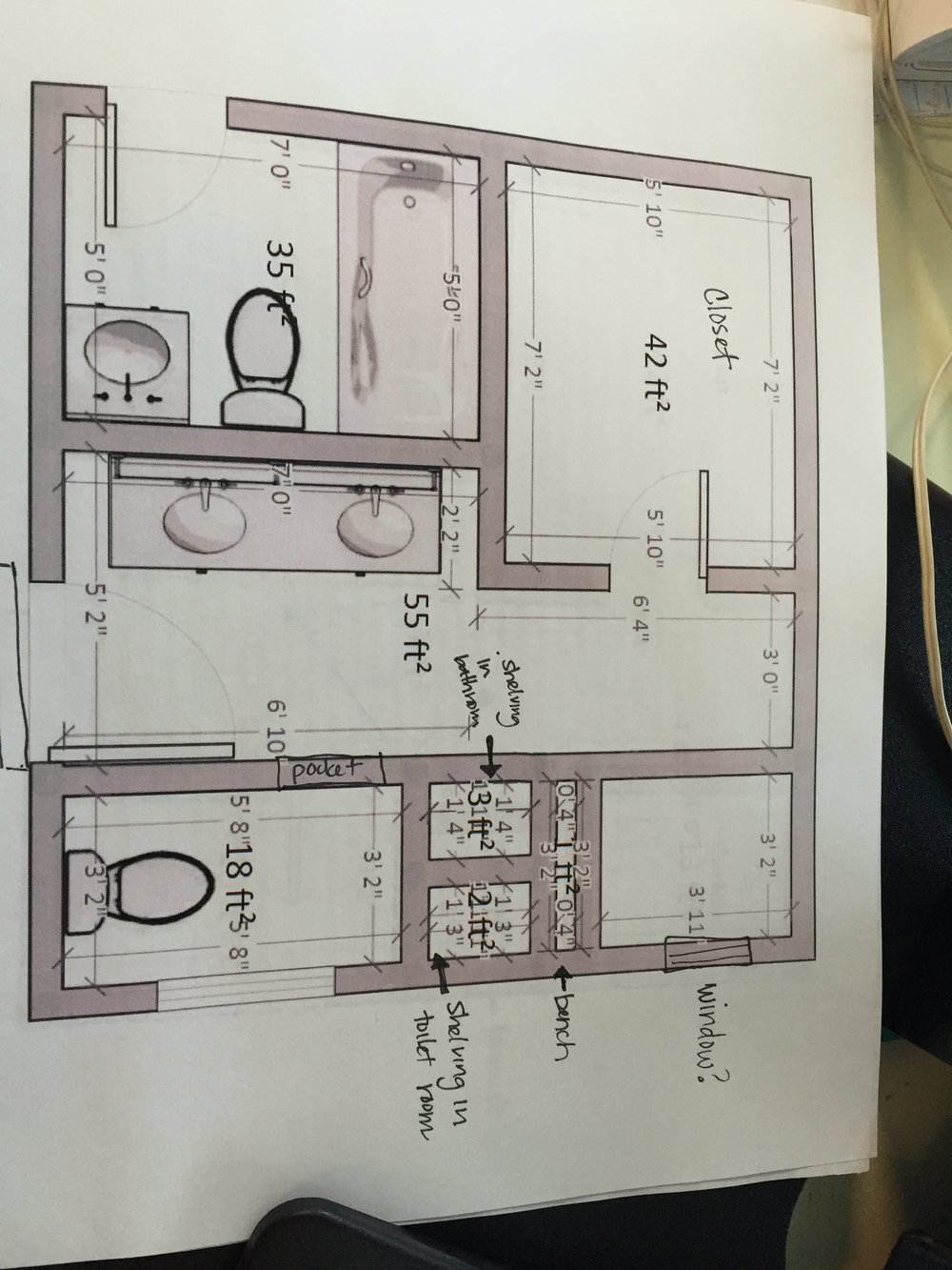 New master bathroom and guest bathroom layout