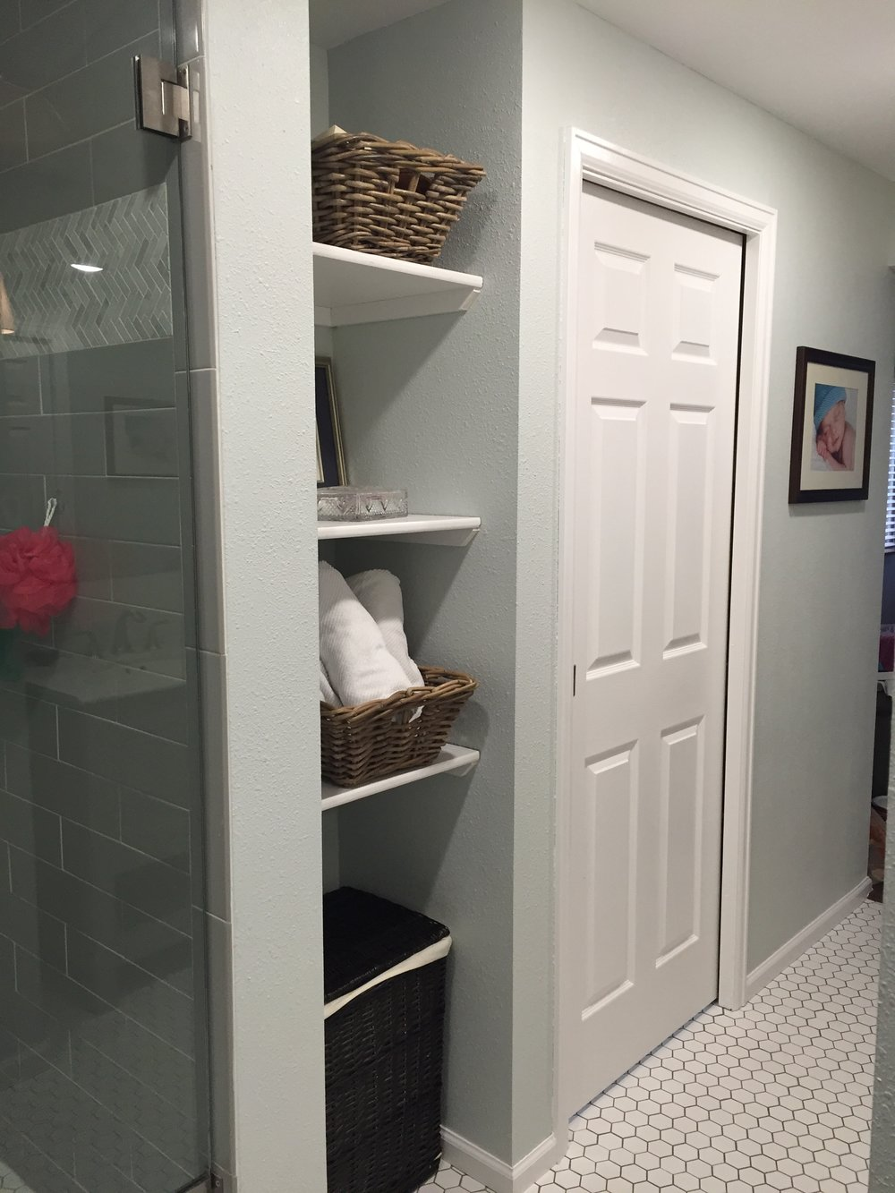 Built in shelving in master bathroom