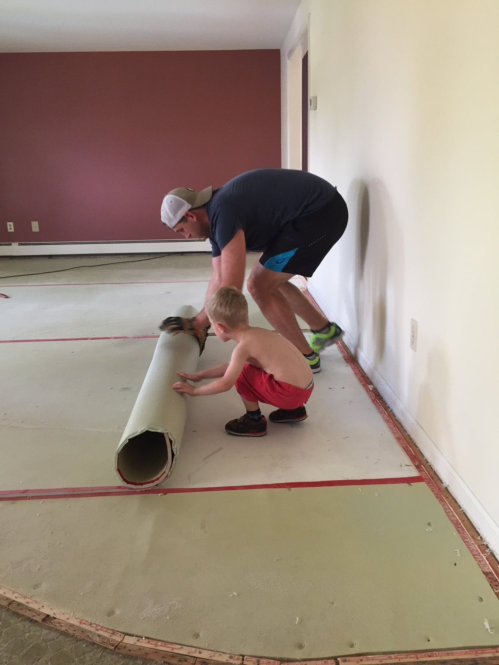 """This kid was the biggest helper with demolition! He always had to have his shirt of when he was working because he, """"got hot"""". Love my Thomas."""