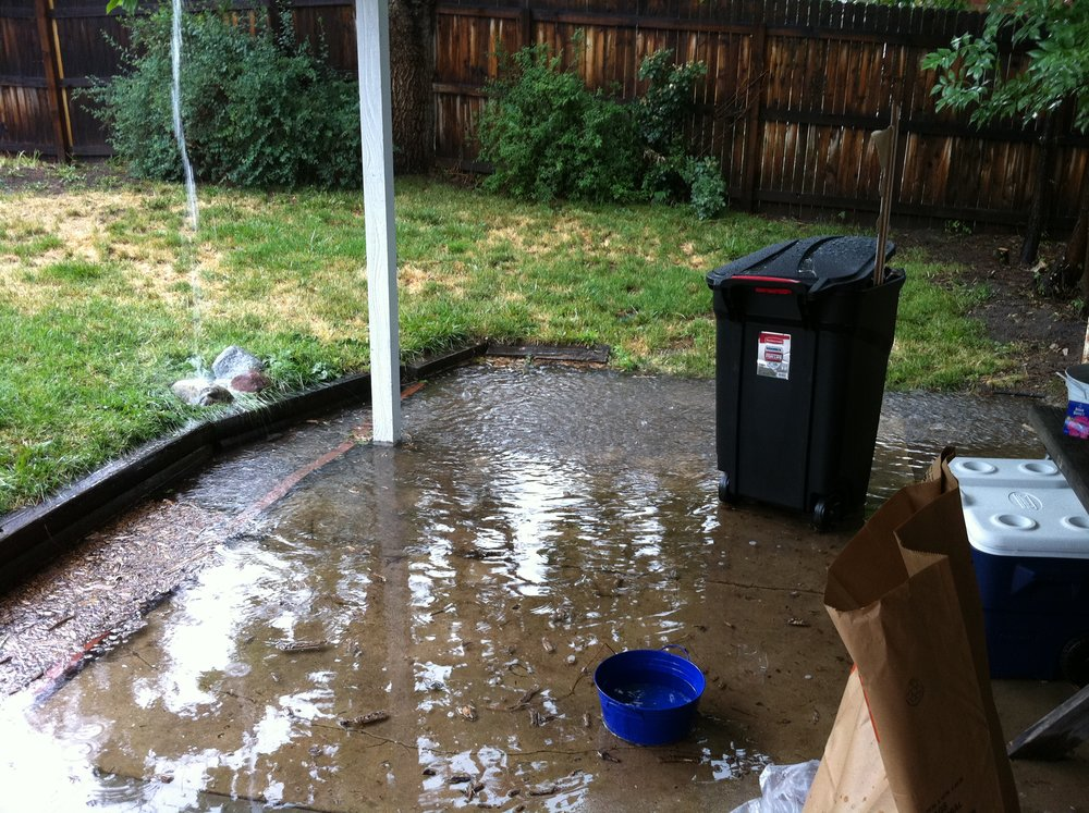 Backyard flooding before the renovation