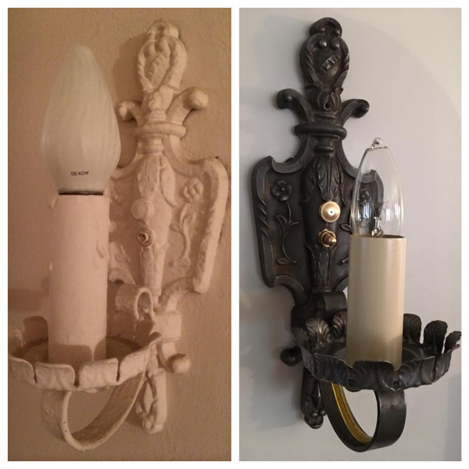 Original sconces restored in this 1920's colonial
