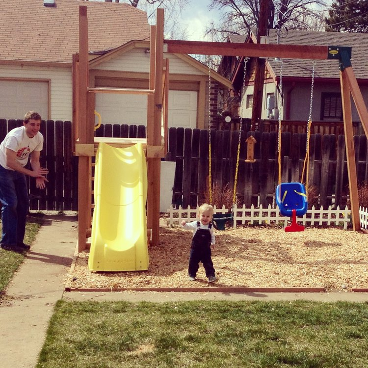 The new swing set in our backyard