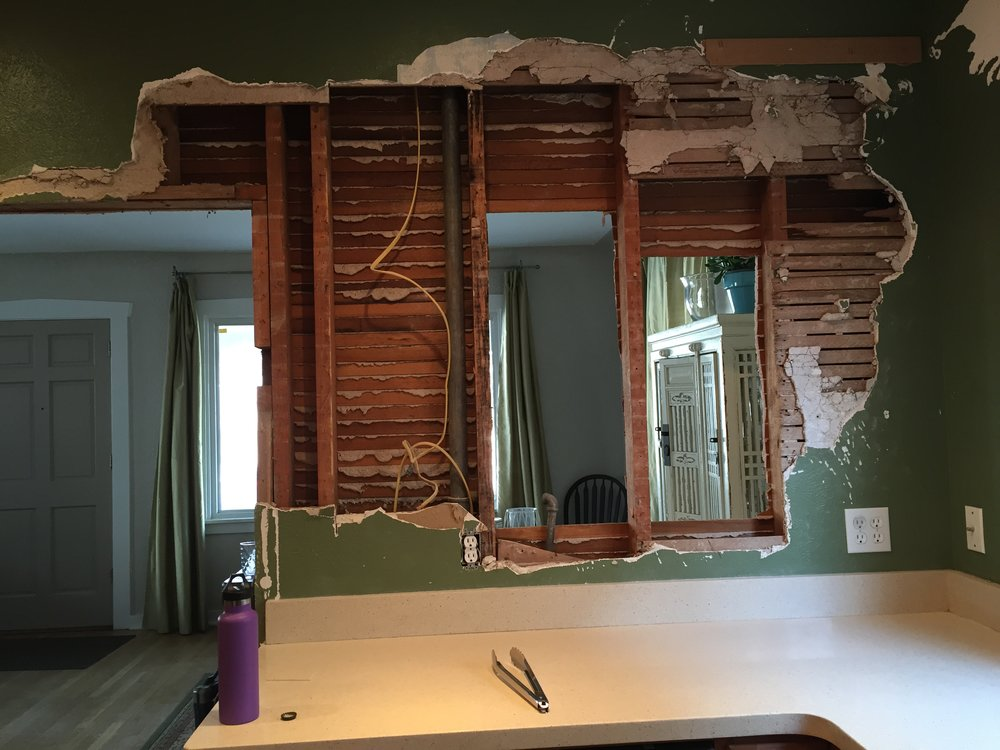 Opening the wall from the kitchen into the dining room