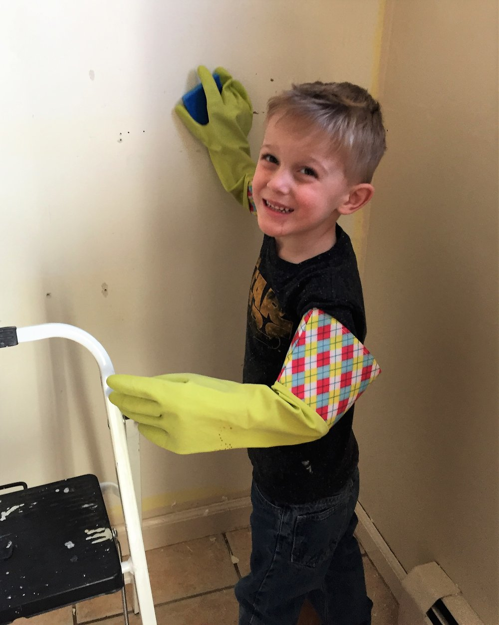 My buddy helping me clean the walls.