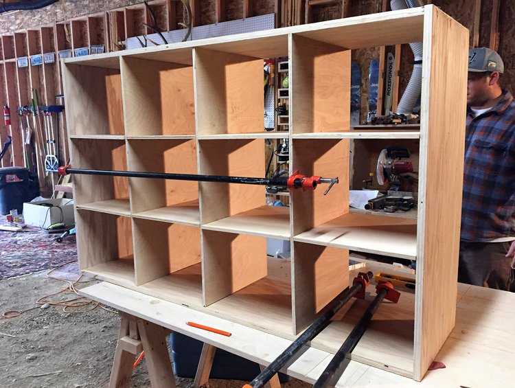 Platte River Woodworks building the toy storage unit
