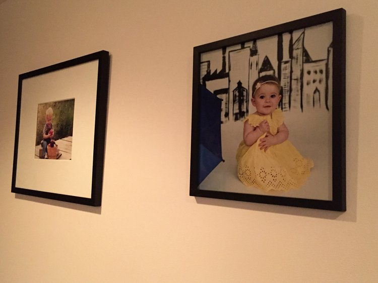 Gallery wall in the playroom with Ikea frames