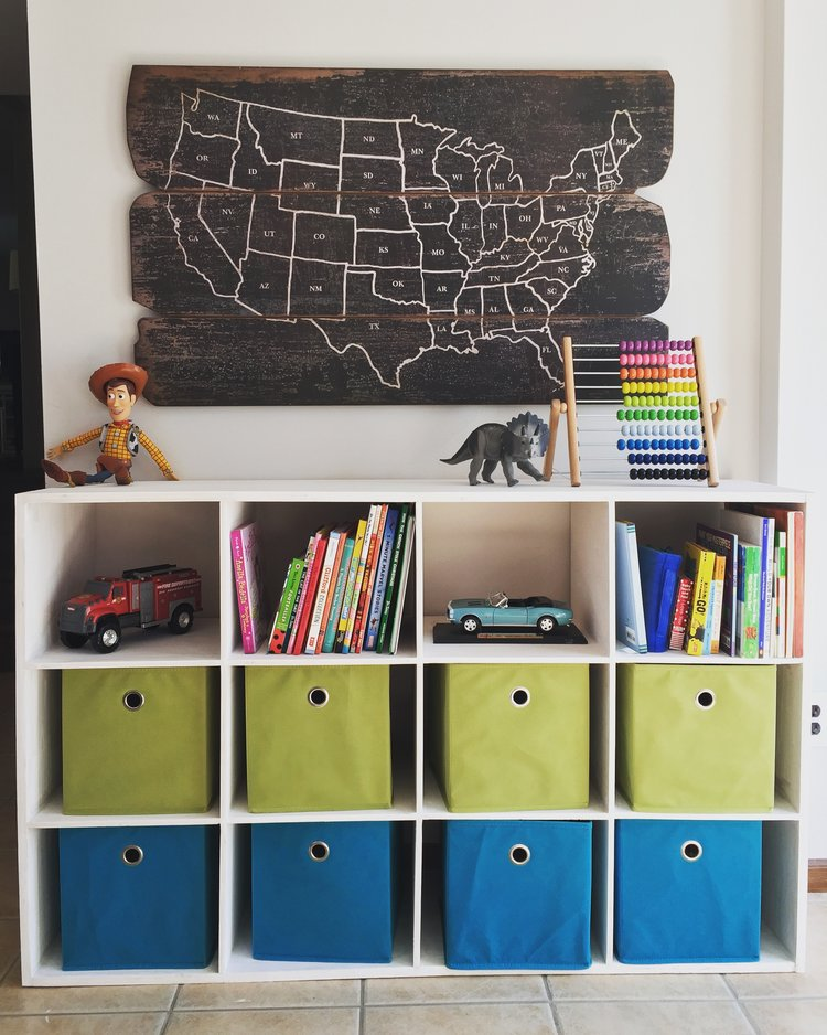 Toy storage unit built by Platte River Woodworks