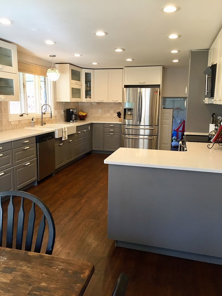 Kitchen renovation with new lighting