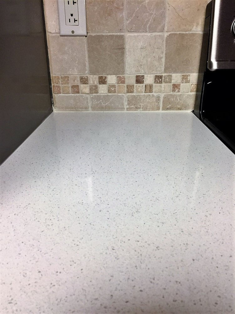 Grouting the tile and countertop seam