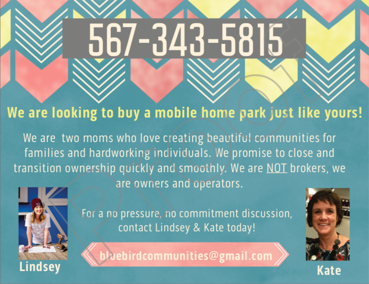 Example of our mobile home park postcard