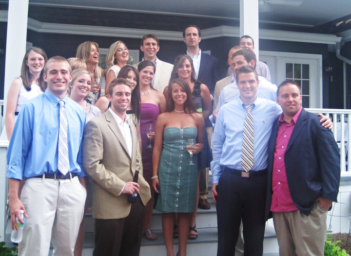 Not the best quality photo, but this is our wedding party on the back porch at our rehearsal dinner!