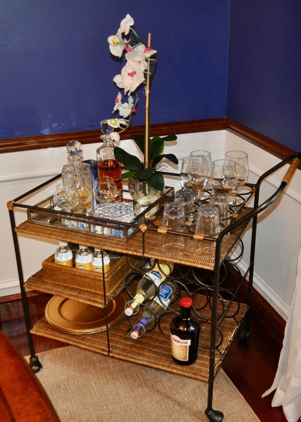 Staged bar cart