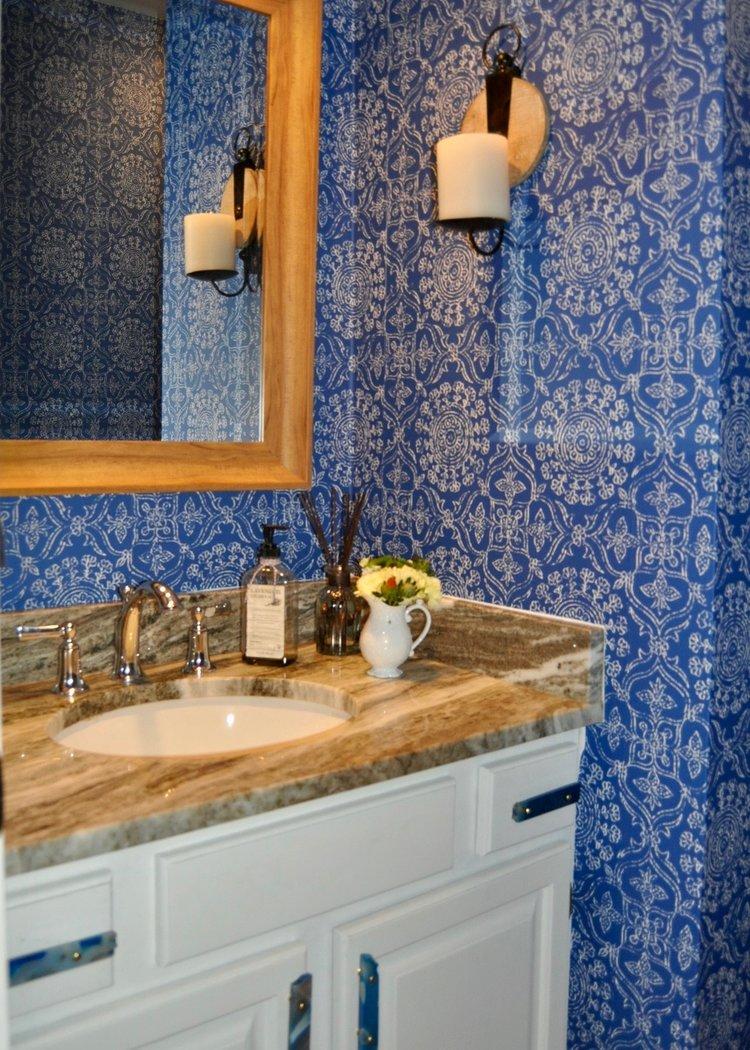 Half bathroom with removable wallpaper
