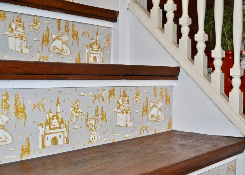 Tempaper removable wallpaper on stair treads.