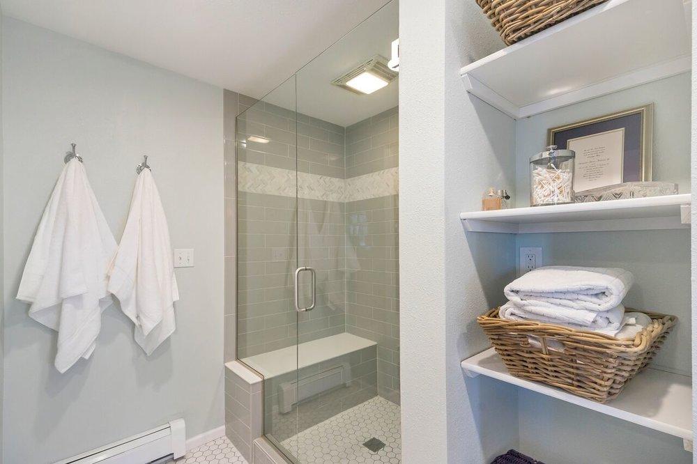 Walk in shower in master bathroom.
