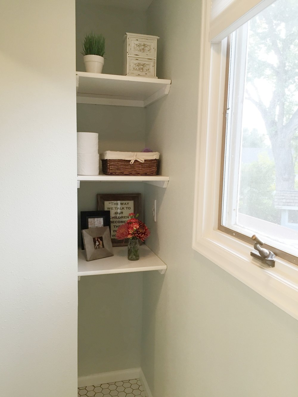 Shelving in the toilet room